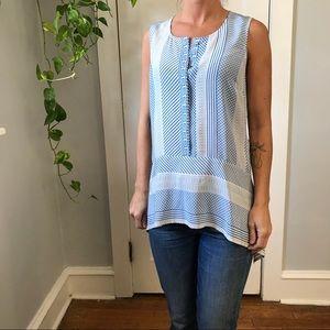Veronica Beard Blue Silk Printed Blouse Tunic Top